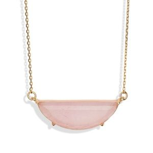 NWOT kate spade mini half moon necklace gold pink